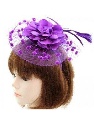 Flower Fascinator on Aliceband Purple