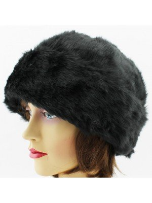 Ladies Turn up Fur Hat with Quilted Lining- Black
