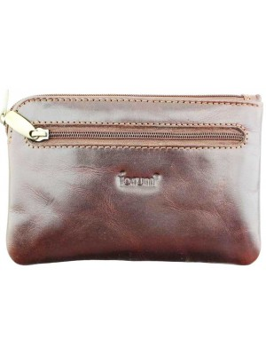 Wholesale Forum Leather Wallet With Zipper Closure - Brown