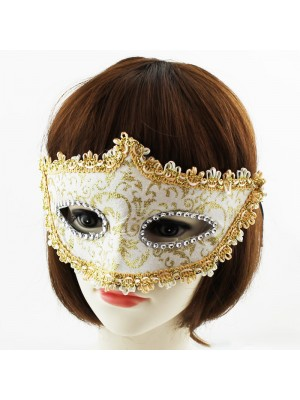 Venetian Style Party Mask With Glitter & Diamonds Assorted Colours