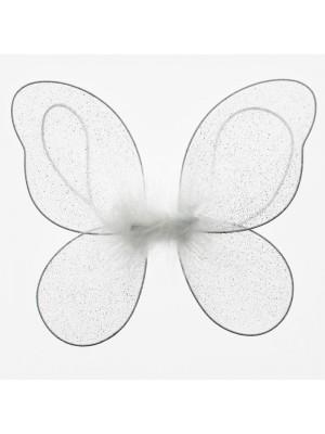 White Glittered Plain Fairy Wings - Medium
