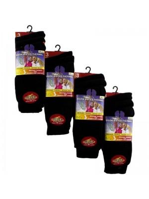 Wholesale Ladies Black Warm Winter Thermal Socks (3 Pair Pack) - Asst.