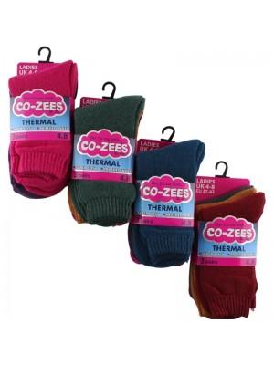 Wholesale Ladies Thermal Plain Socks - Co-Zees (3 Pair Pack) - Asst.