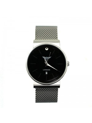 NY London Mens Metal Watch - Black and Silver