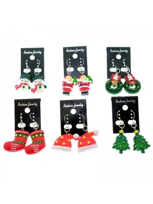 Christmas Themed Earrings Assorted (Pack of 12)