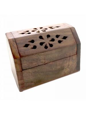 Wooden Incense Burner Box For Cones - Chest Case Shape