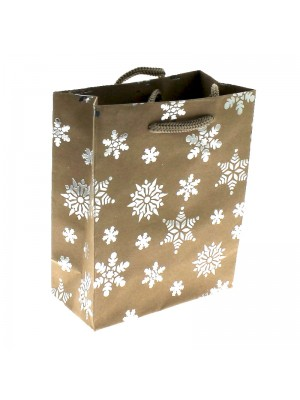 Snowflake Christmas Themed Gift Bag - Medium (12x15x5.5cm)