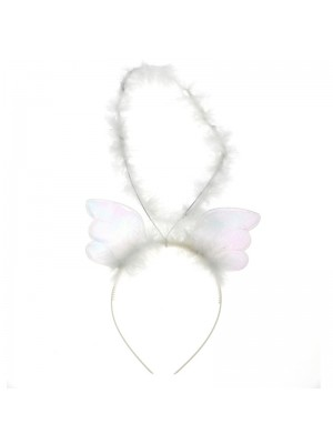 Hair Accessory White Angel Halo with Wings Party