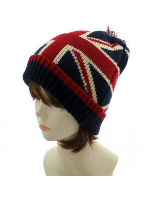 Union Jack Knitted Winter Hat with Pom Pom