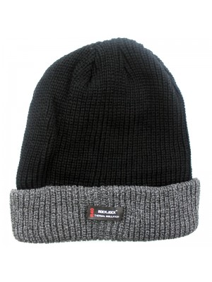 Mens Rockjock Thermo Beanie Hat Black Coarse Knit Thinsulate R40