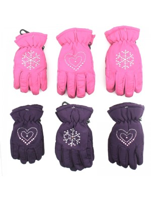 Girls Insulated Ski Gloves with Lining Assorted