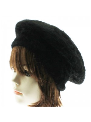 Ladies Angora Beret - Black