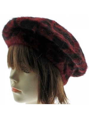 Ladies Angora Beret - Red Leopard Print Beret