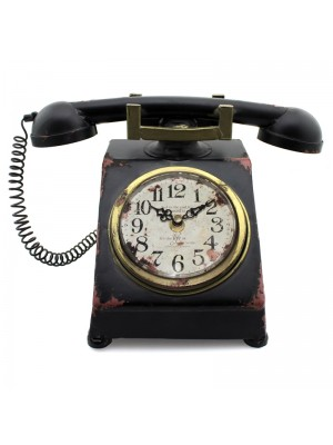 Metal Mantel Clock - Old Fashioned Telephone 19cm