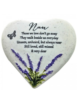 Nan Heart Stone Memorial Standing Plaque