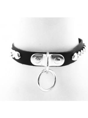 Leather Choker With Chains and Hoop