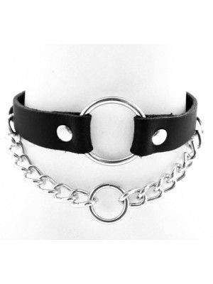 Leather Choker With Chain and O-Ring