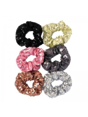 Coloured Sequin Fabric Scrunchies - Assorted Designs