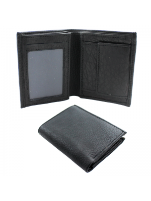 Mens Leather Wallet with 6 Card Slots - Black