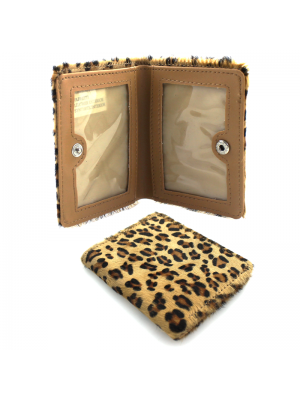 Fabretti Leopard Print Leather Card Holder