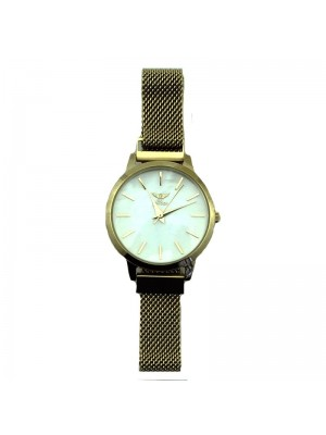 NY London Ladies Mesh Watch - Gold & White