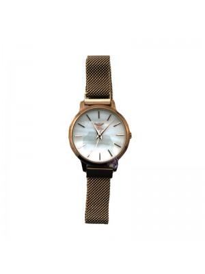 NY London Ladies Mesh Watch - Rose Gold & White