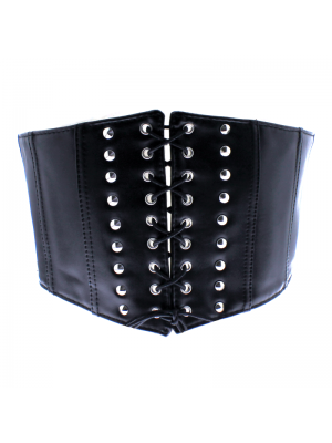 Lace Up Corset Belt with Studs - Black