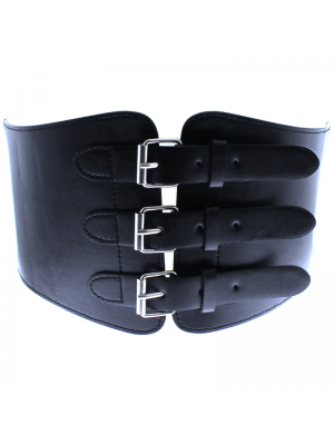 Triple Buckle Corset Belt - Black