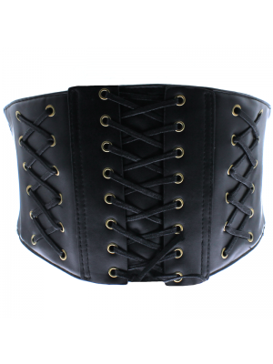 Lace Up Corset Belt - Black