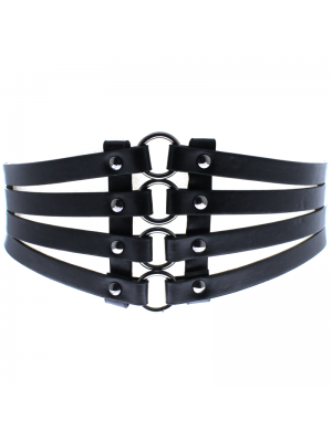 Four Strip Corset Belt - Black