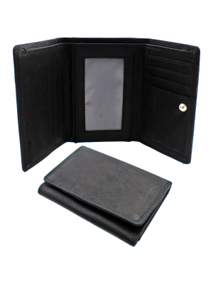 Mens Leather Wallet with 8 Card Slots - Black