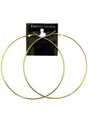 Gold Plain Thin Hoop Earrings - 10cm