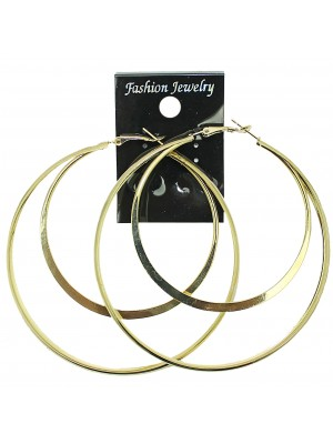 Silver Double Hoop Earrings - 8cm