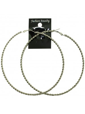 Silver Twist Hoop Earrings - 12cm