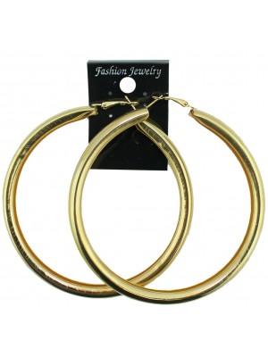 Gold Tube Hoop Earrings - 8cm