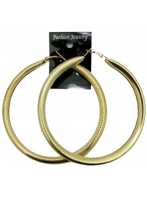 Gold Patterned Tube Hoop Earrings - 8cm