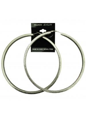 Silver Chunky Hoop Earrings - 12cm