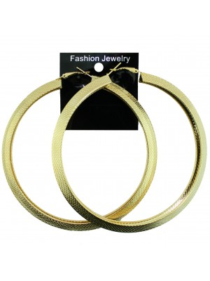 Gold Patterned Hoop Earrings - 9cm