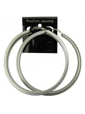 Silver Patterned Flat Earrings - 9cm