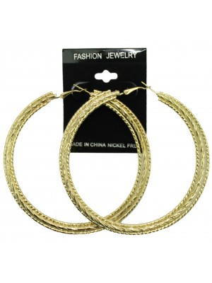 Gold Three Pattern Hoop Earrings - 8cm
