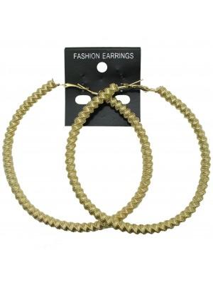 Gold Swirl Design Hoop Earrings - 9cm