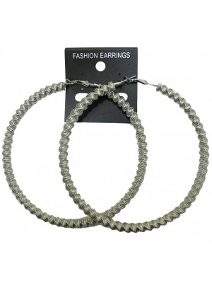 Silver Swirl Design Hoop Earrings - 9cm