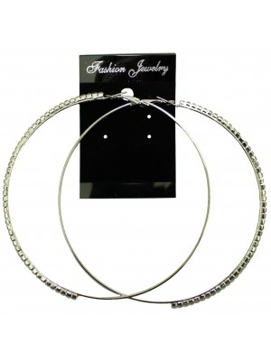 Silver Crystal Hoop Earrings - 10cm