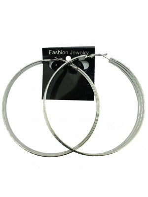 Silver Chunky Hoop Earrings - 9cm