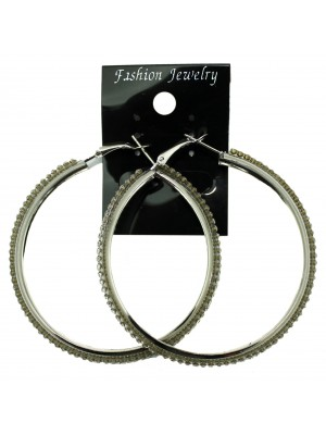 Silver Crystal Hoop Earrings - 6cm