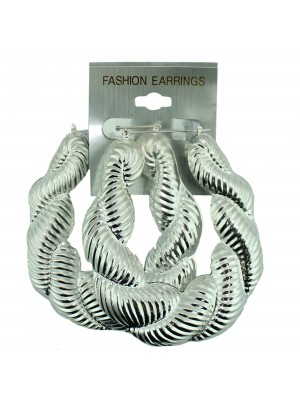 Silver Swirl Bamboo Hoop Earrings - 6cm