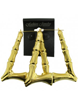 Gold Triangle Bamboo Hoop Earrings - 8cm