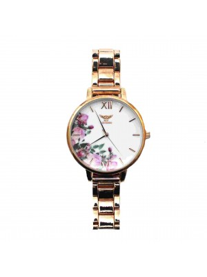 NY London Ladies Floral Design Watch - Rose Gold