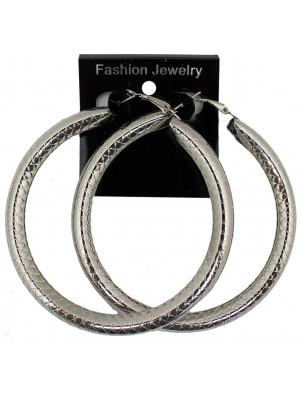 Silver Patterned Hoop Earrings - 8cm