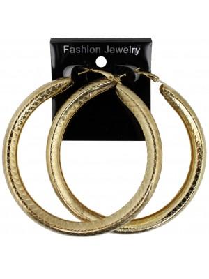 Gold Patterned Hoop Earrings - 8cm